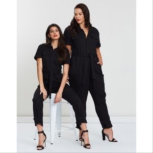 Good American Short Sleeve Jumpsuit - Blk, Lg